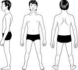 Full length profile, front, back view of a teenager boy