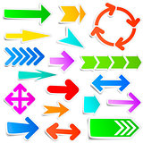 Colourful paper arrow stickers