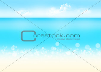 Sea, sand and blue sky nature background