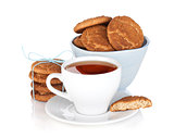 Tea cup with homemade cookies