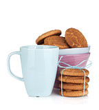 Coffee cup with homemade cookies