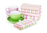 Kitchen towels and coffee cups