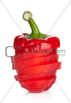 Sliced ripe red bell pepper