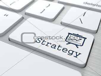 """Business Concept. """"Strategy"""" Button."""
