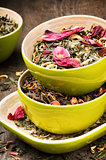 Mix of dry green and flower tea