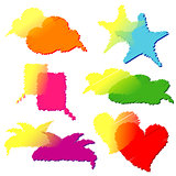 Set of Colorful Transparent Speech Bubbles