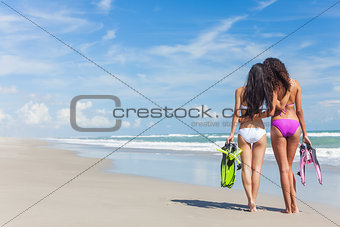 Rear View Beautiful Bikini Women At Beach