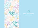 Vector colorful pastel branches horizontal card seamless pattern background with hand drawn floral motif.