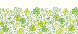 Vector clover line art horizontal seamless pattern ornament background with hand drawn elements.