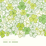 Vector clover line art horizontal decor seamless pattern background with hand drawn elements.