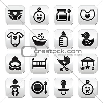 Baby , childhood vector buttons set isolated on white