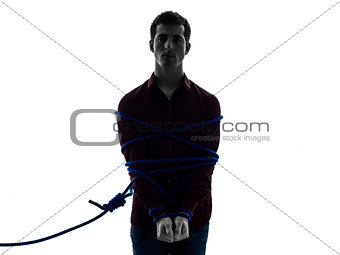 one man trapped catched lasso prisoner silhouette