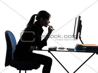 business woman computer computing  silhouette