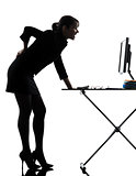 business woman backache pain standing full length  silhouette