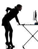 business woman backache pain standing full length  silhouette