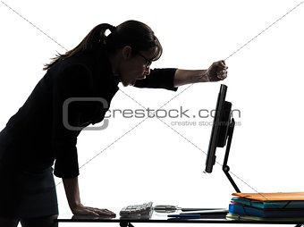 business woman computer failure breakdown silhouette