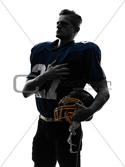 american football player man hand on heart silhouette