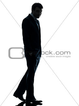 business man sad full length  silhouette