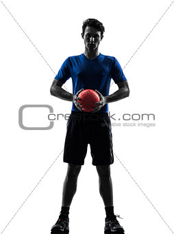 young man exercising handball player silhouette