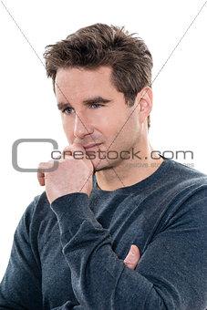 mature thinking pensive  man portrait
