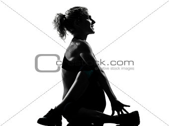 woman warming up yoga stretching rotation fitness posture