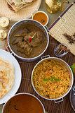 Biryani mutton rice with traditional background