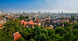 Panoramic aerial view of Bangkok from Golden mount temple