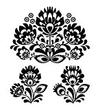 Folk embroidery with flowers - traditional polish pattern in monochrome