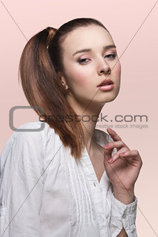 beauty lady with smooth ponytail