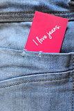 jeans with a label