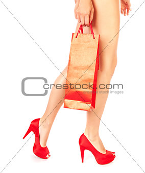 Girl with red shopping bag