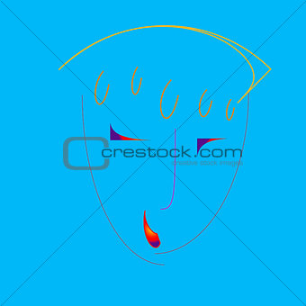 Abstract portrait N30 on  blue background