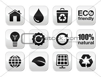 Green ecology vector buttons set