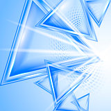 Blue abstract background with triangles.