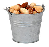 Mixed nuts in a miniature metal bucket