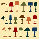Set of lamp icons