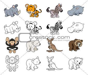 Cartoon Wild Animal Illustrations