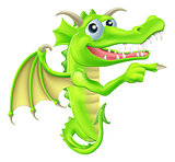 Cartoon Dragon Peeking Round Sign