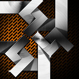 Orange and Metal Geometric Background