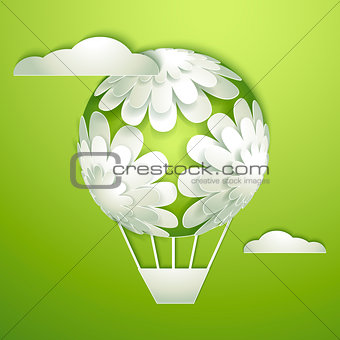 Card with a paper hot air balloon