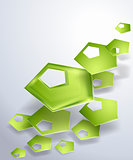 Abstract vector background with green pentagons