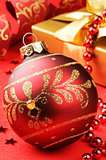 Christmas ball on festive background