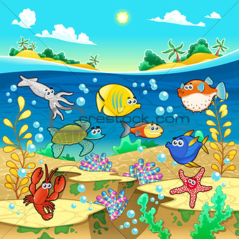 Family of funny fish in the sea.