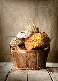 Bread assortment in a basket