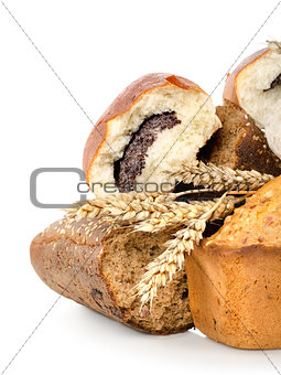 Collection of different bread isolated
