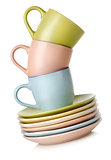 Cups and dishes isolated