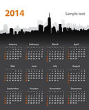 2014 year stylish calendar on cityscape background