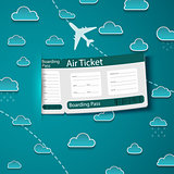 Air ticket on sky background.