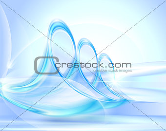 Abstract blue background with glass swirles