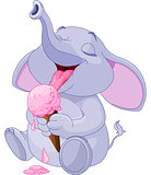 Elephant eating ice cream